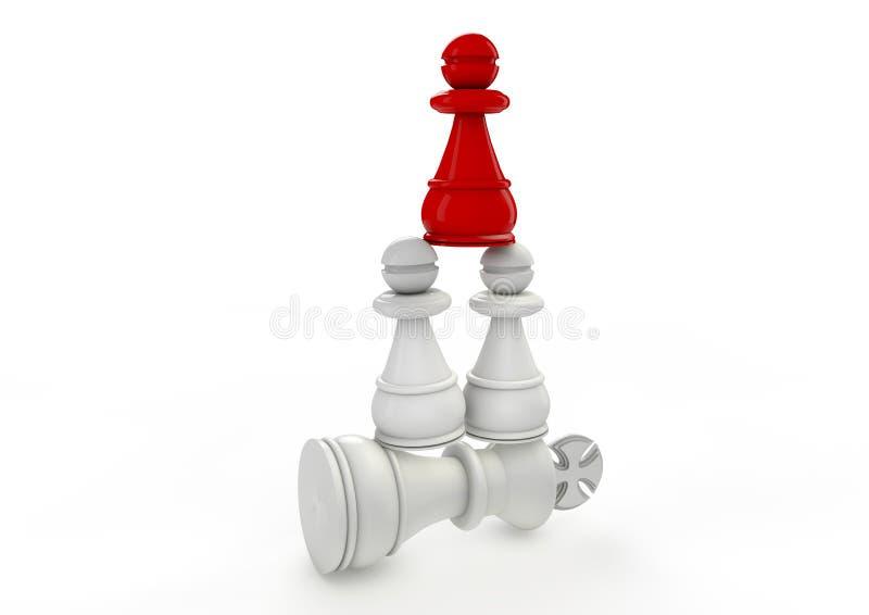 Metáfora para la estrategia de la colaboración y victoria del equipo como concepto del negocio para la dirección de mercado cambi ilustración del vector