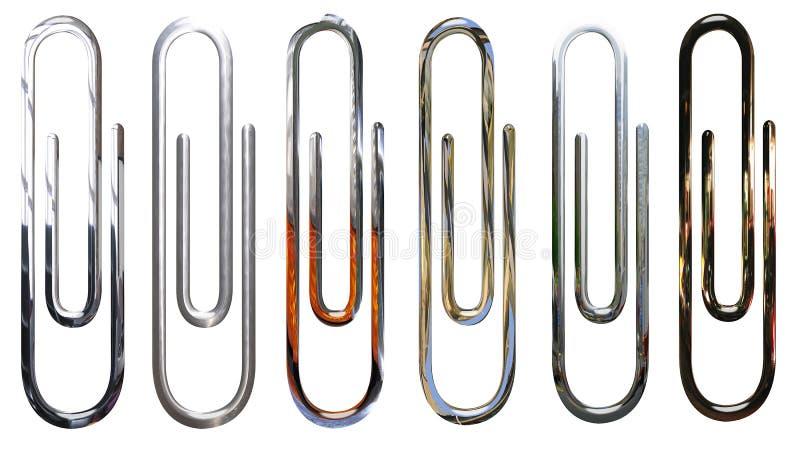 Metálico, cromo, paperclips de plata aislados libre illustration