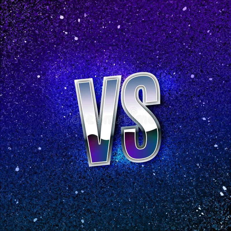 Metálico denominado retro contra o logotipo CONTRA letras do vetor no espaço cósmico azul Ilustração do ícone da batalha ilustração do vetor