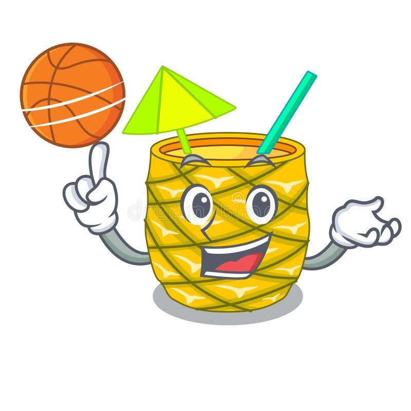 Met basketbalananassap met op beeldverhaal wordt versierd dat stock illustratie