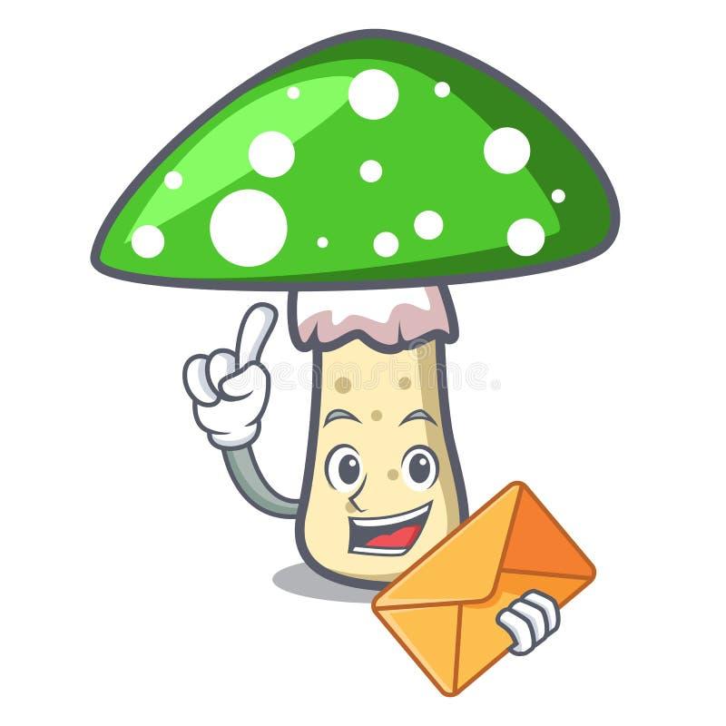 Met beeldverhaal van het de paddestoelkarakter van de envelop het groene amaniet vector illustratie