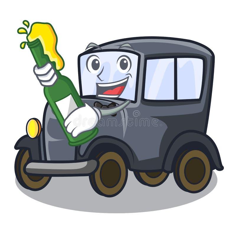 Met bier oude miniatuurauto in vormmascotte stock illustratie