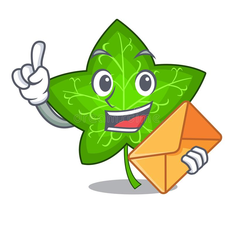 Met blad van de envelop het groene klimop op karakterbeeldverhaal vector illustratie