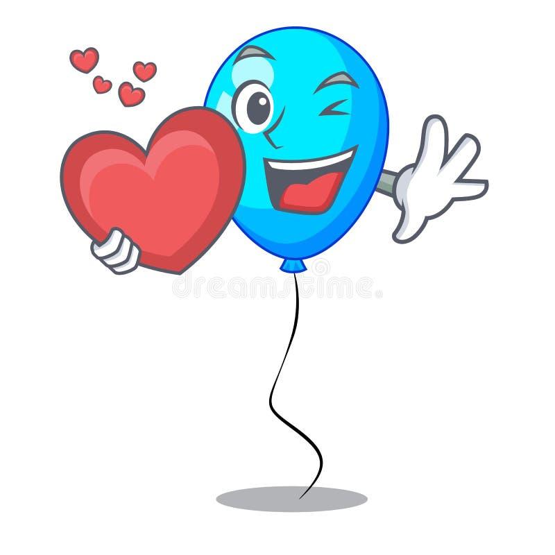 Met de ballon blauwe mascotte van de hartpartij geïsoleerd royalty-vrije illustratie