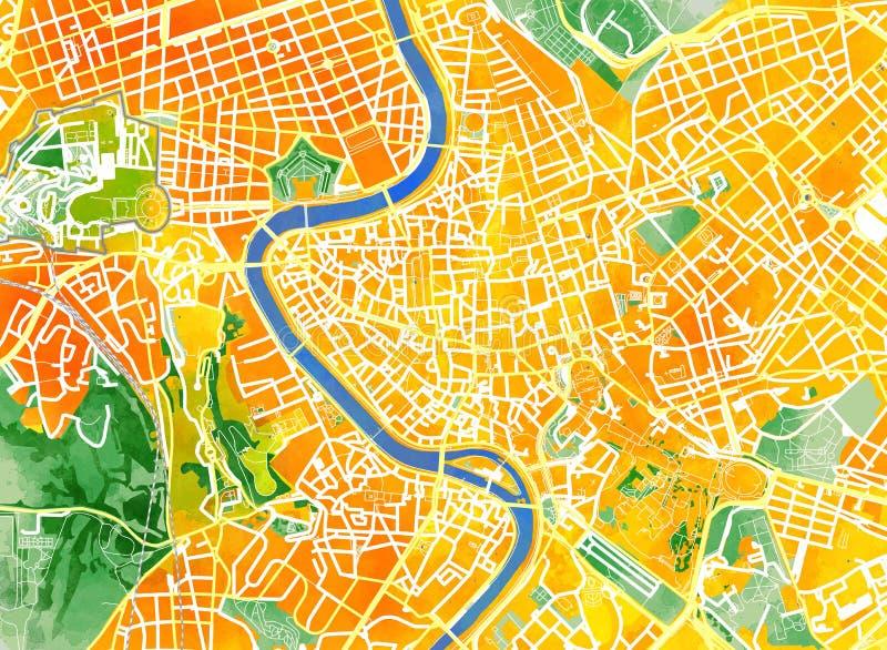 Met de hand de getrokken kaart van Rome, borstel, wegen en straten, Italië royalty-vrije illustratie