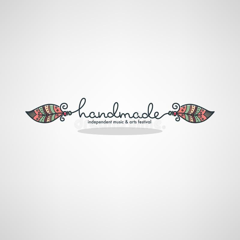 Met de hand gemaakt Art Festival, hand getrokken krabbelembleem, etiket, embleem royalty-vrije illustratie
