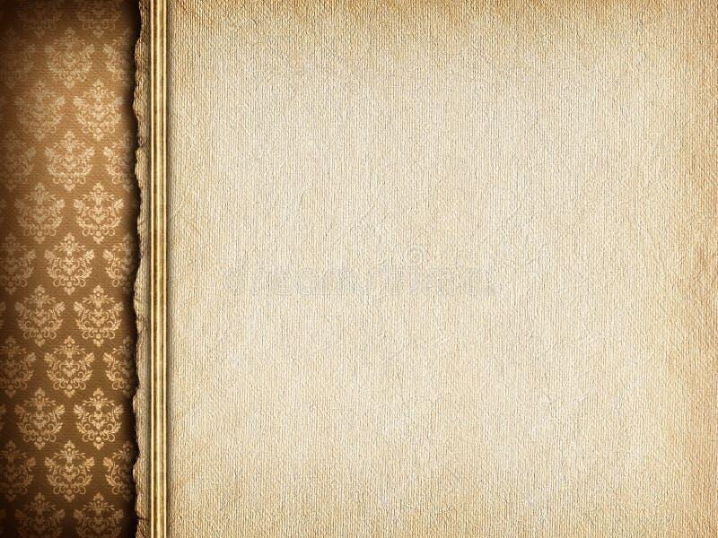 Met de hand gemaakt document blad op behangachtergrond royalty-vrije illustratie