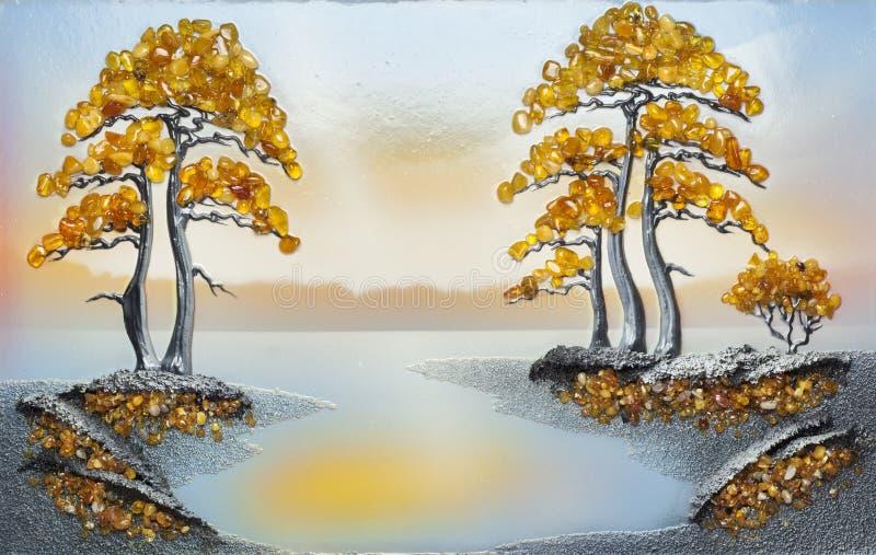 Met de hand gemaakt een beeld van amber en overzees zand royalty-vrije stock foto's