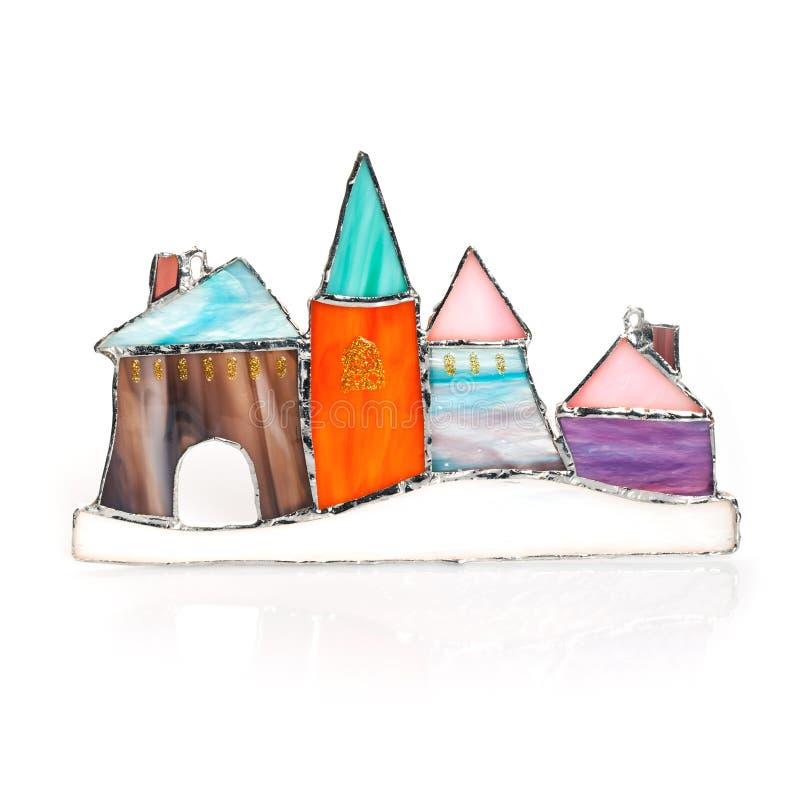 Met de hand gemaakt gebrandschilderd glas kleurrijk kasteel stock foto