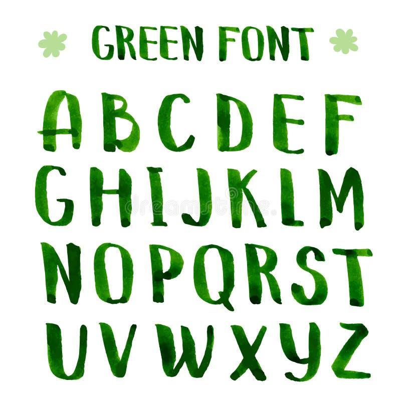 Met de hand gemaakt inkt groen alfabet vector illustratie