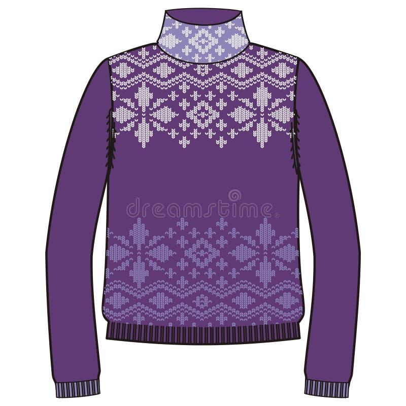 Met de hand gemaakte breit de de winter warme sweater, svitshot, verbindingsdraad voor, zwarte kleur Ontwerp - sneeuwvlokken, het vector illustratie
