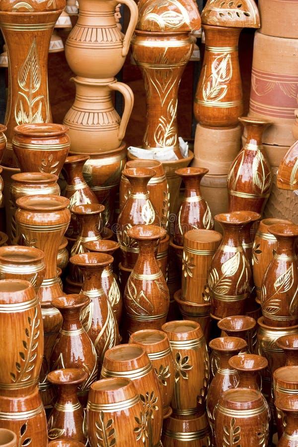 Met de hand gemaakte claypots van Bangladesh stock afbeelding