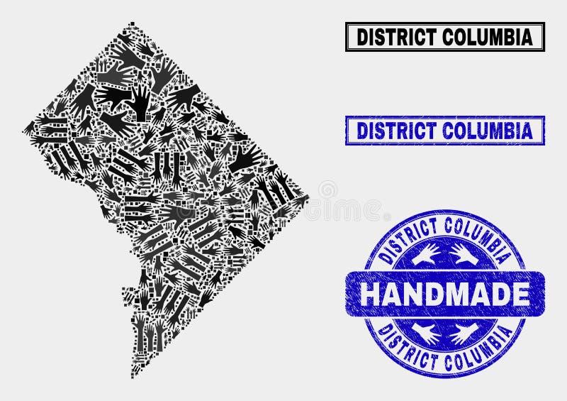 Met de hand gemaakte Collage van Washington District Columbia Map en Gekraste Verbinding stock illustratie