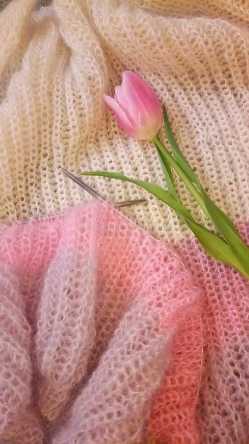 Met de hand gemaakte gebreide sweater stock fotografie