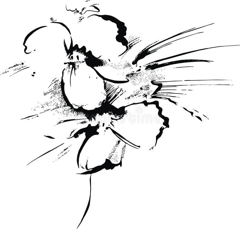 Met de hand gemaakte het schilderen bloem stock illustratie