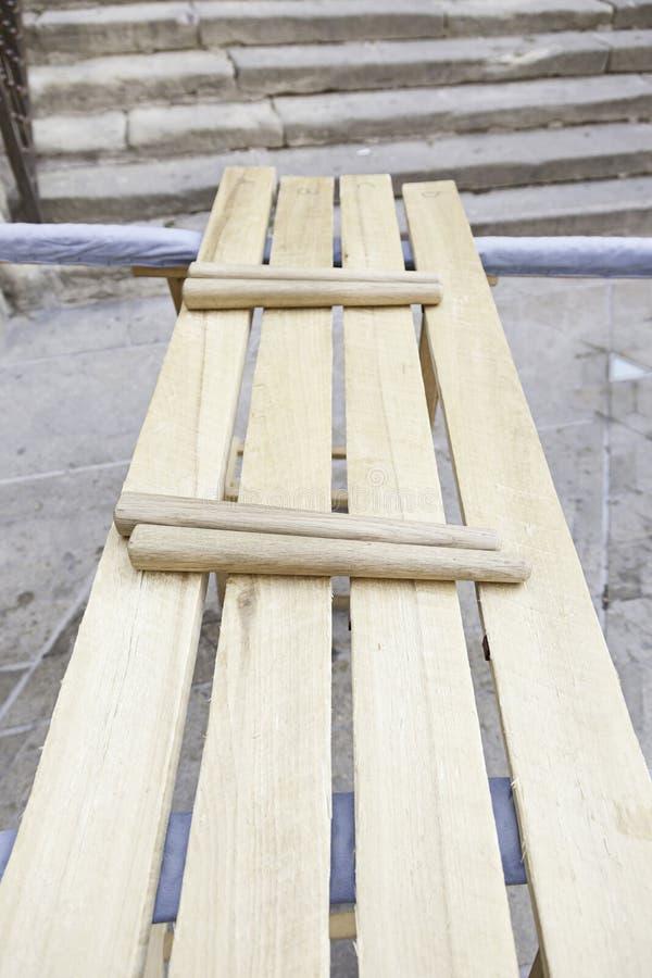Met de hand gemaakte houten xylofoon stock foto