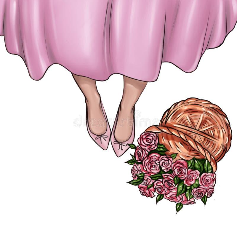 Met de hand gemaakte Illustratie van meisjesschoenen en mand van verse rozen stock illustratie