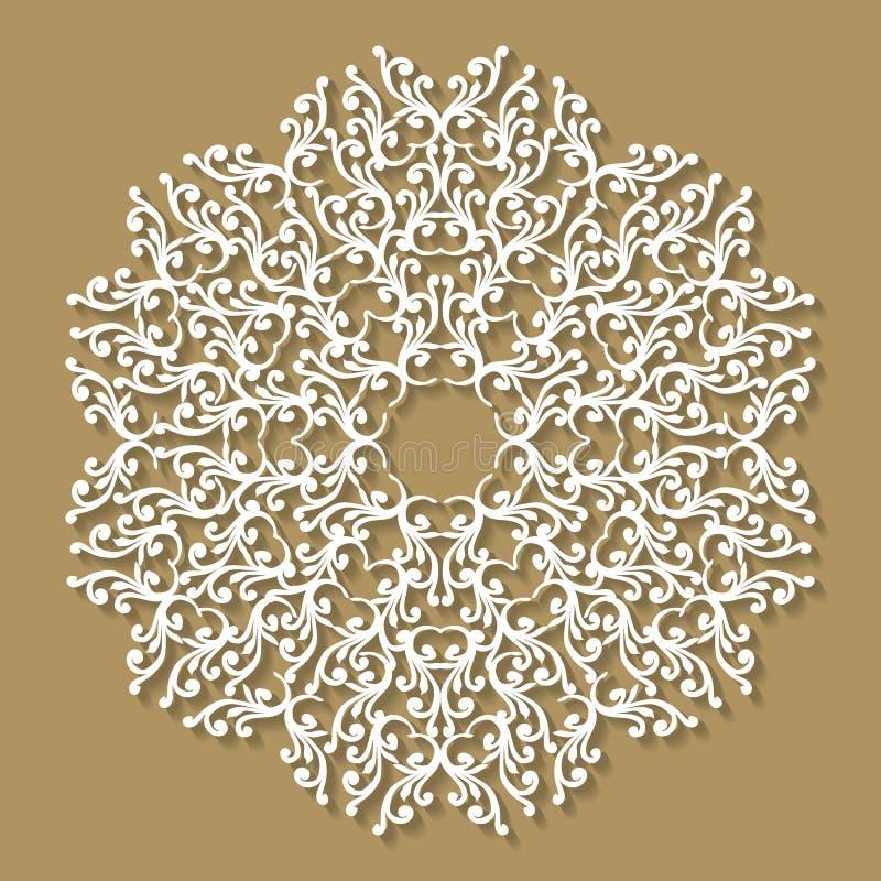 Met de hand gemaakte kantdoily De mooie elegante wijnoogst breide kanten napk stock illustratie