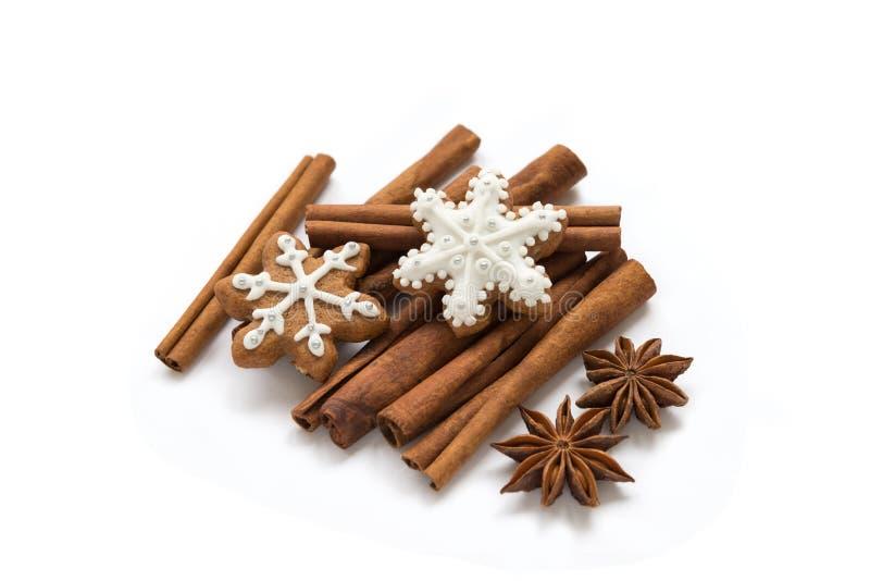Met de hand gemaakte Kerstmiskoekjes, pijpjes kaneel en steranijsplant op een witte backgroun royalty-vrije stock afbeeldingen