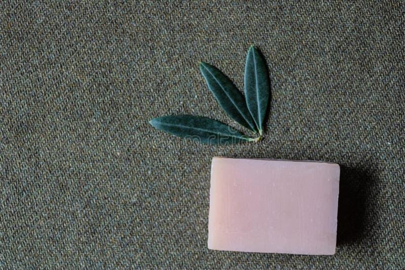 Met de hand gemaakte olijfolie gebaseerde zeep met bladeren van olijfboom - Beeld stock afbeeldingen