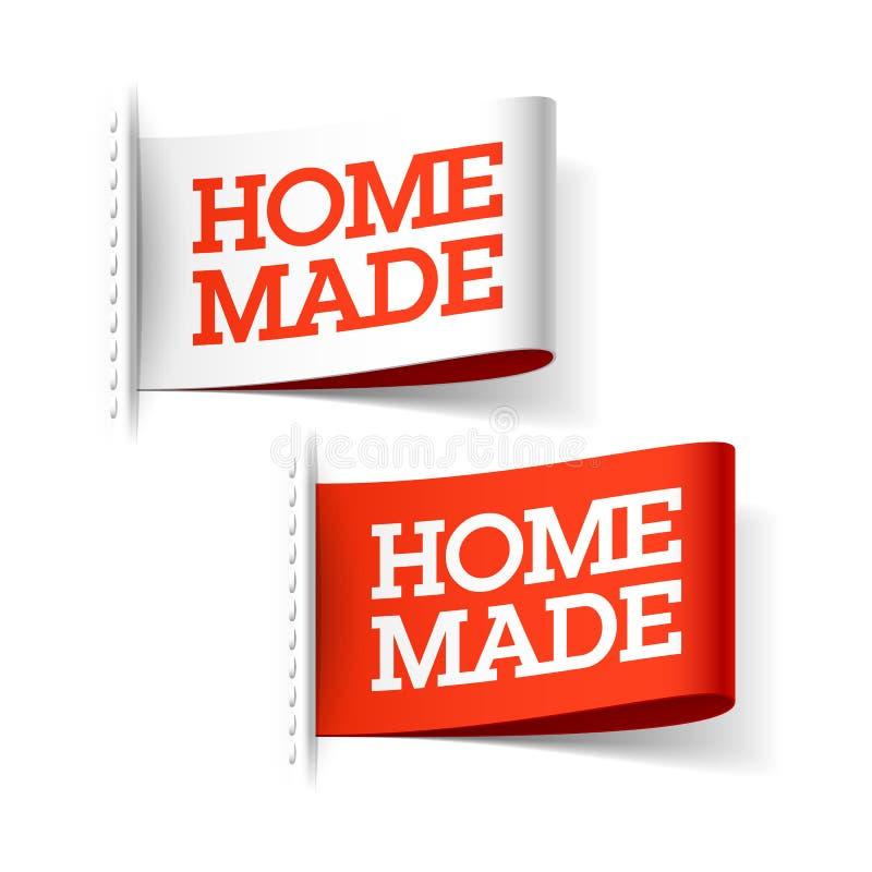 Met de hand gemaakte rode en witte etiketten vector illustratie