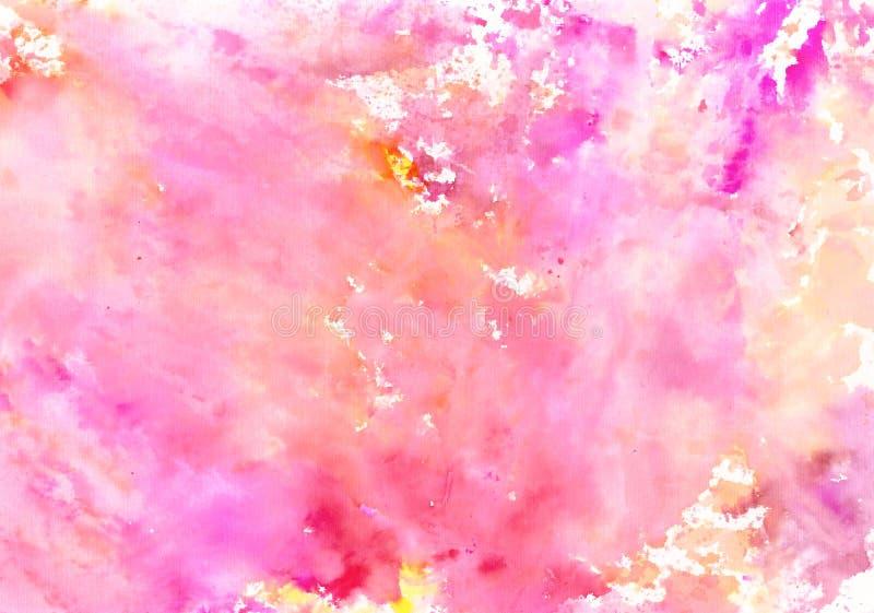Met de hand gemaakte roze oranjegele waterverfachtergrond stock illustratie