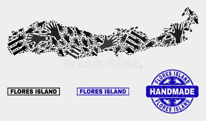Met de hand gemaakte Samenstelling van Flores-Eiland van de Kaart van Indonesië en Geweven Zegel vector illustratie