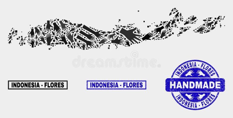 Met de hand gemaakte Samenstelling van Flores-Eilanden van de Kaart van Indonesië en Gekraste Zegel royalty-vrije illustratie