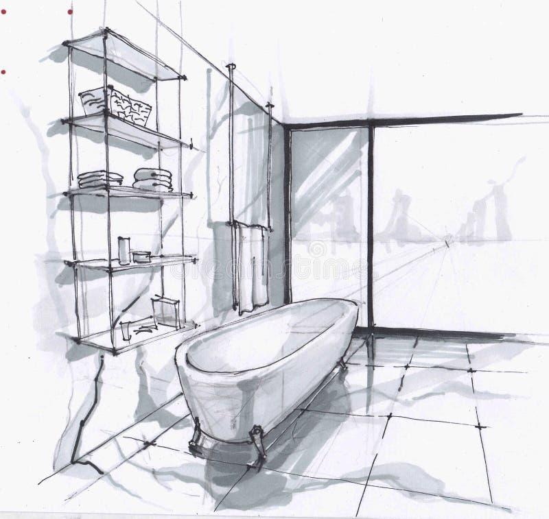 Met de hand gemaakte schets van een luxueuze moderne badkamers, groot bad in oude stijl, plank voor schoonheidsmiddelen en handdo vector illustratie