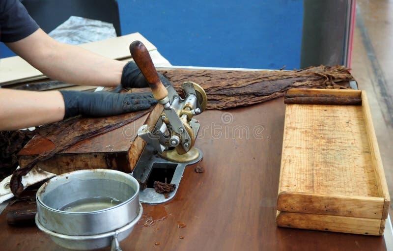 Met de hand gemaakte sigarenvoorbereiding met grote tabaksbladeren stock foto's