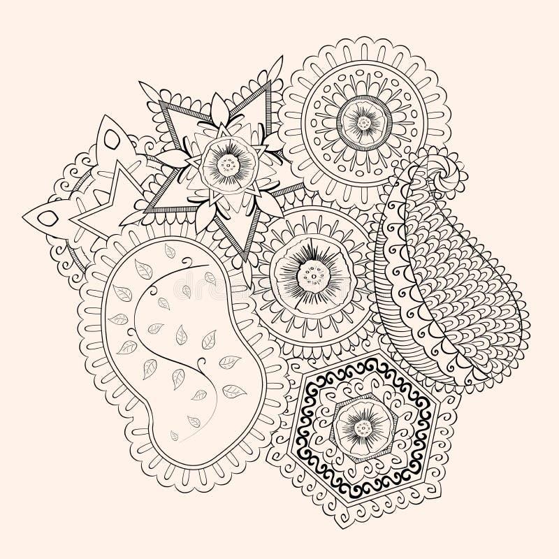 Met de hand gemaakte tekening van Mehendi de tracery geïsoleerde hindi vector illustratie