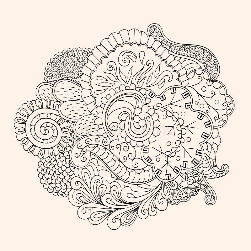 Met de hand gemaakte tekening van Mehendi de tracery geïsoleerde hindi stock illustratie