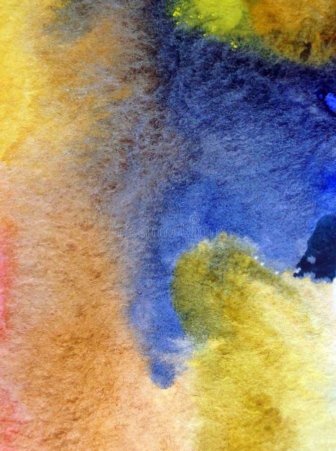 Met de hand gemaakte waterverf abstracte heldere kleurrijke weefselachtergrond Het schilderen van overzeese laag Modern patroon royalty-vrije stock foto's