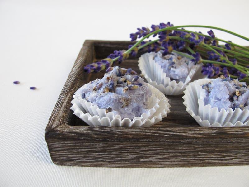 Met de hand gemaakte zeeppralines met lavendel royalty-vrije stock foto's