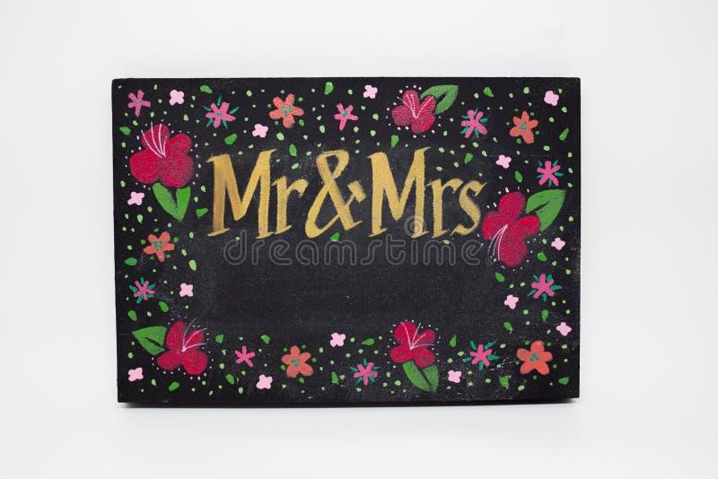 Met de hand geschilderd M. en Mevr.bordteken royalty-vrije stock afbeeldingen
