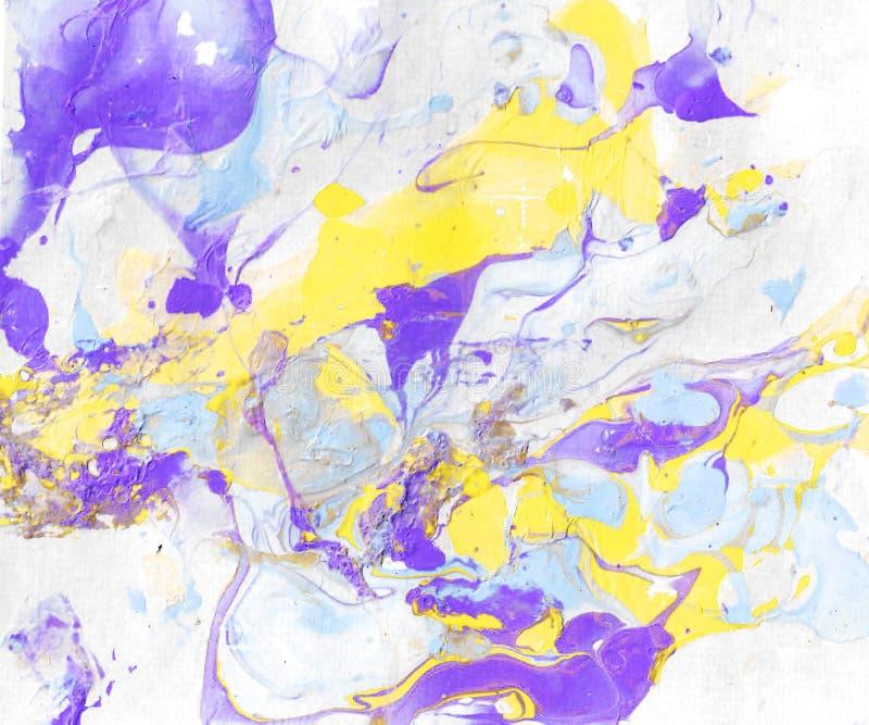 Met de hand geschilderde abstracte achtergrond met gele, purpere en blauwe verfplonsen stock illustratie