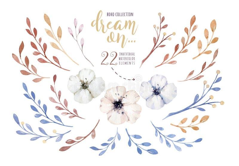 Met de hand geschilderde die waterverfbloemen in uitstekende stijl worden geplaatst Het ` s perfect voor groetkaarten, huwelijksu royalty-vrije illustratie