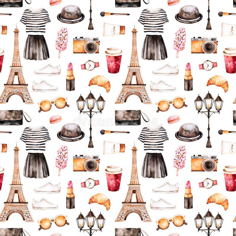 Met de hand geschilderde textuur met gestreepte bovenkant, schoonheidsmiddelen, Reis Eiffel, koffie, schoenen, rok, zak royalty-vrije illustratie