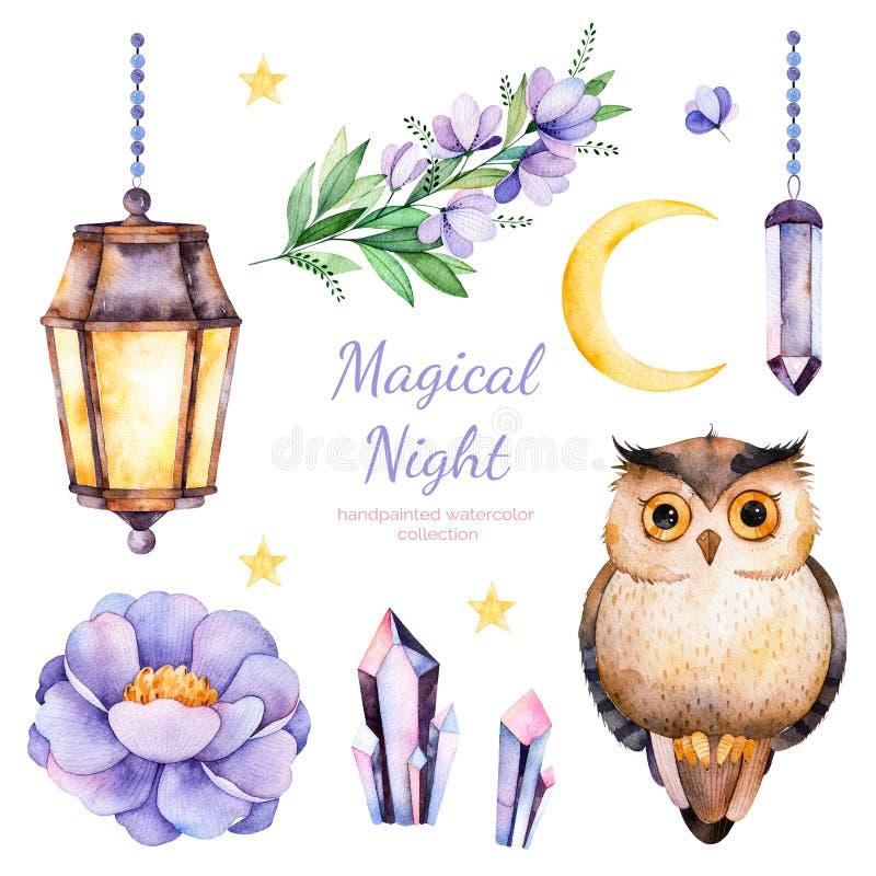 Met de hand geschilderde waterverfbloemen, bladeren, maan en sterren, nachtlamp, kristallen en leuke uil royalty-vrije illustratie