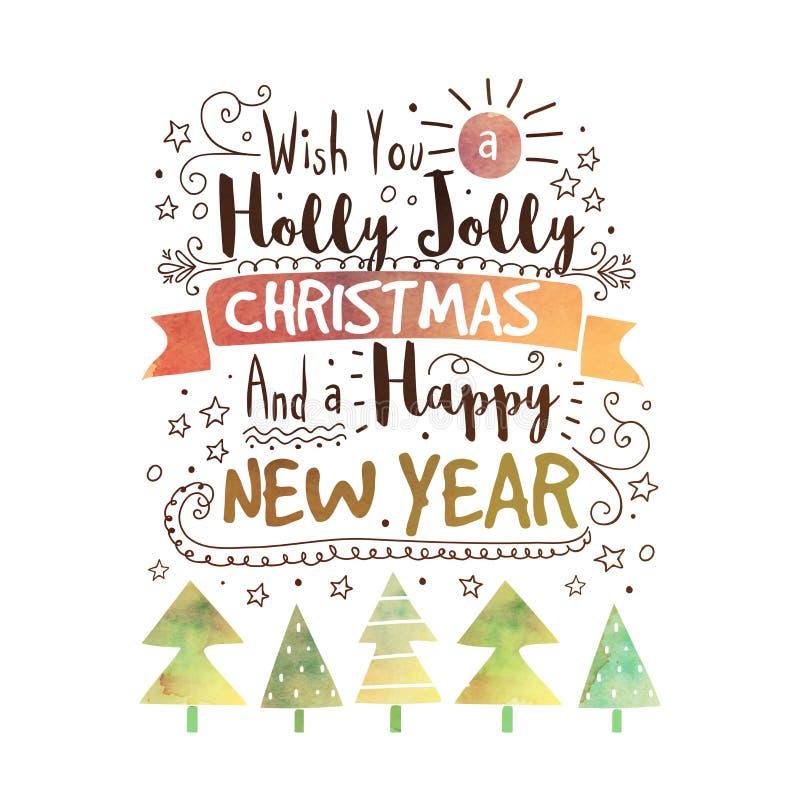 Met de hand geschreven achtergrond voor Kerstmis en Nieuwjaar vector illustratie