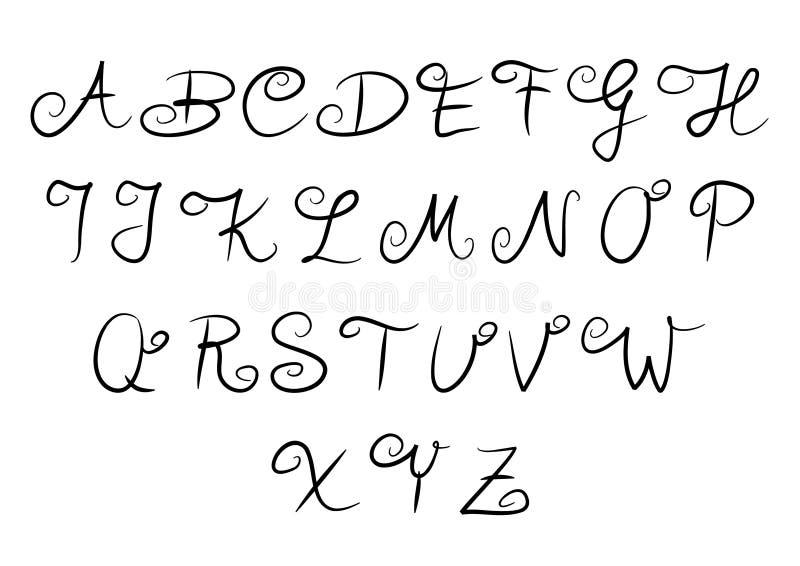 Met de hand geschreven alfabet stock illustratie