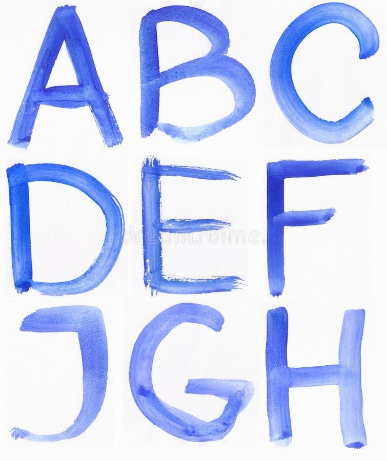 Met de hand geschreven blauw waterverfalfabet royalty-vrije stock fotografie
