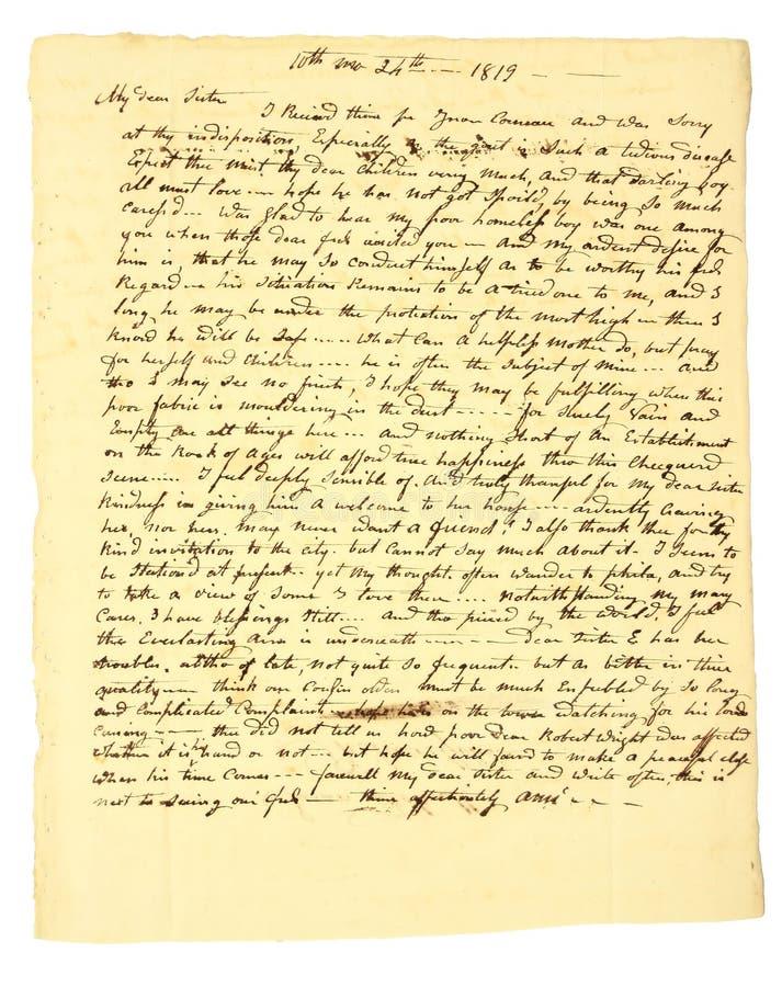 Met de hand geschreven Brief van 1819 royalty-vrije stock foto's