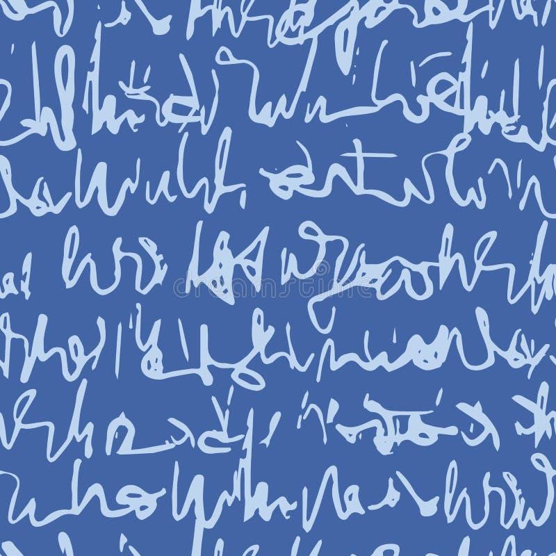 Met de hand geschreven Cursief Manuscript Naadloos Vectorpatroon, Onleesbare Handschrifttextuur stock illustratie