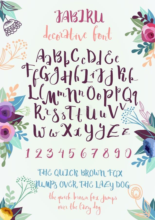 Met de hand geschreven decoratief alfabet vector illustratie
