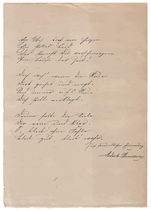 Met de hand geschreven gedicht op oude document achtergrond stock foto