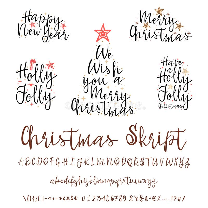 Met de hand geschreven kalligrafie elegante doopvont en Gelukwensen Gelukkig Nieuwjaar en Vrolijke Kerstmis, kalligrafie voor kaa royalty-vrije illustratie