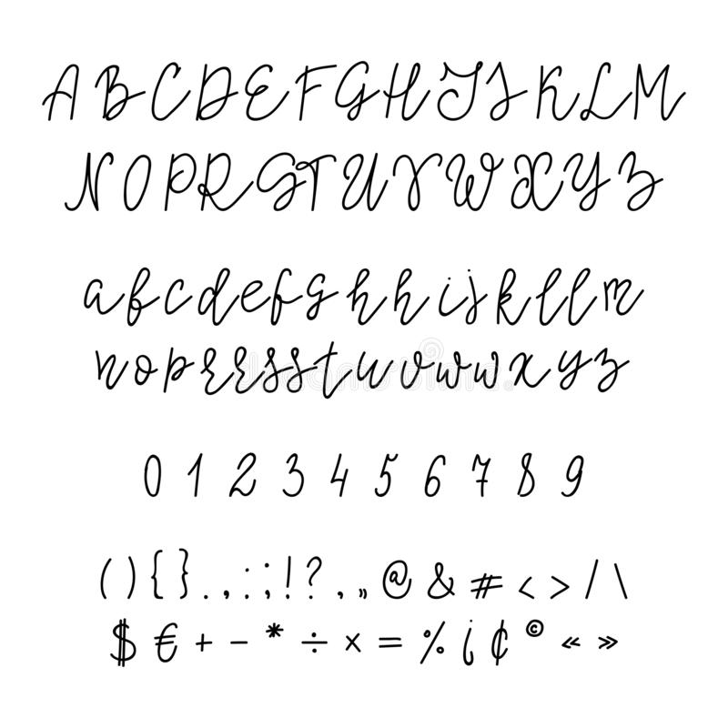 Met de hand geschreven Kalligrafiedoopvont royalty-vrije illustratie