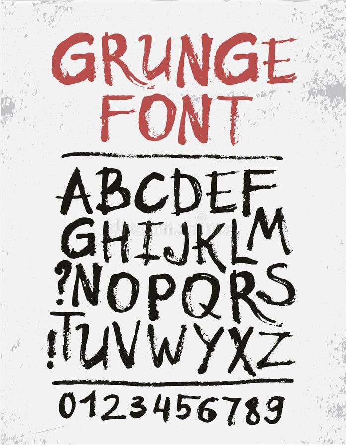 Met de hand geschreven kalligrafisch zwart inkt grunge alfabet vector illustratie