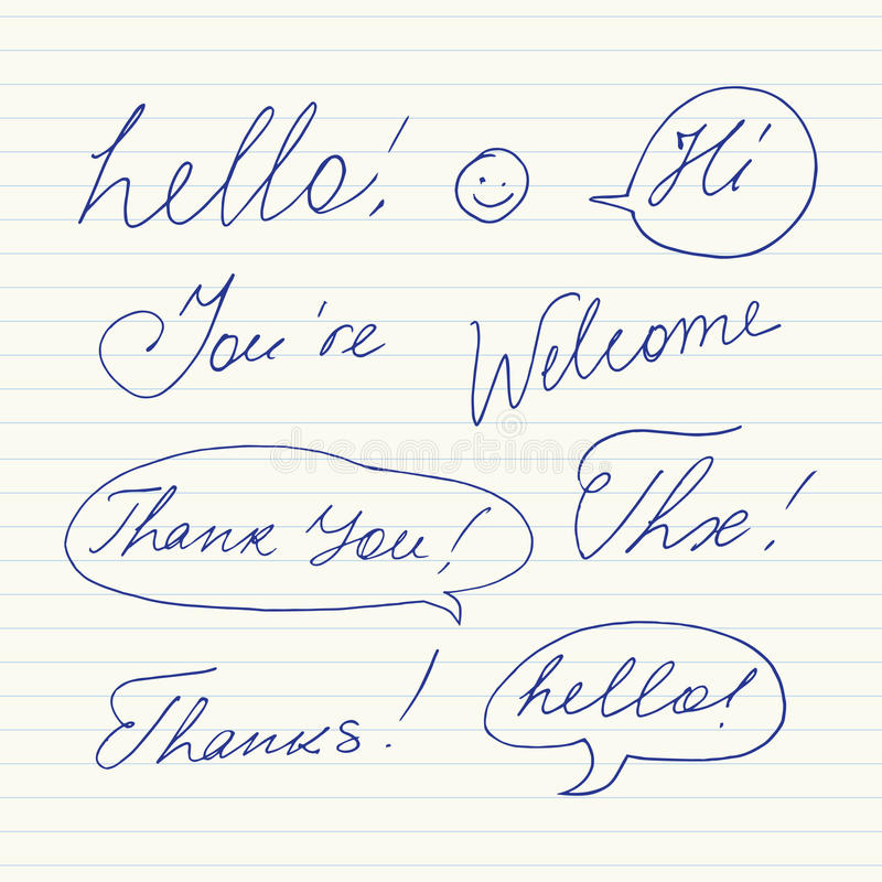Met de hand geschreven korte uitdrukkingen Hello, dankt u, welkom heet, Dank, hallo, Thx stock illustratie